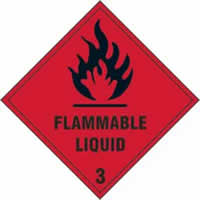 Flammable liquid Class 3 - s/a vinyl - 100 x 100mm label made from self-adhesive vinyl