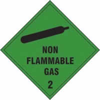 Non flammable gas Class 2 - s/a vinyl - 100 x 100mm label made from self-adhesive vinyl