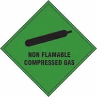 Non Flammable Compressed Gas - s/a vinyl - 200 x 200mm label made from self-adhesive vinyl