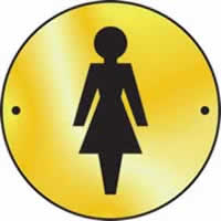 Ladies graphic door disc - Polished Brass 75 mm diameter. made from Polished Brass Sign.