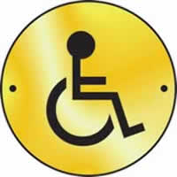 Disabled graphic door disc - Polished Brass 75 mm diameter. made from Polished Brass Sign.