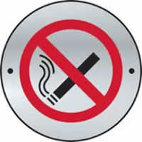 No smoking graphic door disc - SSS 75 mm diameter. made from Satin Stainless Steel