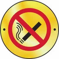 No smoking graphic door disc - PSS 75 mm diameter. made from Polished Satin Steel