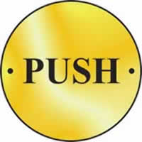 Push door disc - Polished Brass 75 mm diameter. made from Polished Brass Sign.