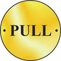 Pull door disc - Polished Brass 75 mm diameter. made from Polished Brass Sign.