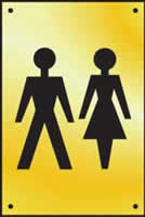 Unisex toilet graphic door plate - Polished Brass 100 x 150mm made from Polished Brass Sign.