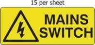 Mains Switch - s/a vinyl - 96 x 38mm sheet of 15 labels label made from self-adhesive vinyl
