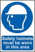 Safety helmets must be worn in this area sign 1mm rigid PVC self-adhesive backing 400 x 600mm