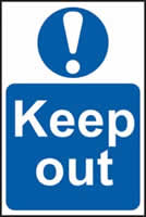 Keep out sign 1mm rigid PVC self-adhesive backing 400 x 600mm