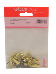 No 1 Electro Brass Single Picture Hooks