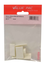 30 mm x 20 mm White Self Adhesive Cup Hooks