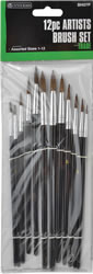 12 Piece Sizes 1-12 Artists Brush Set