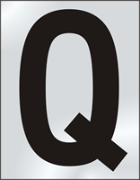 75mm polished chrome effect sign Character Q
