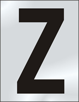 75mm polished chrome effect sign Character Z
