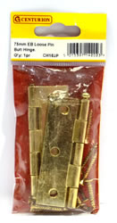 75 mm Electro Brass 1840 Pattern Loose Pin Butt Hinges 1 pair