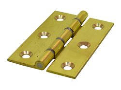 3 inch x 2 inch x 2.2 mm Polished Brass Medium Duty Solid Drawn Butt Hinges DSW 1 pair