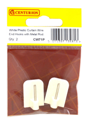 White Plastic Curtain Wire End Hooks With Metal Rod Packet of 2