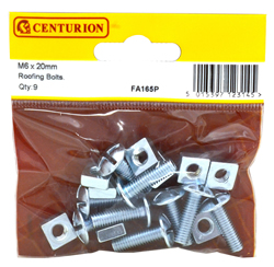 M6 x 20 mm Zinc Plated Roofing Bolts Packet of 9