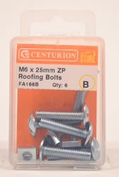 M6 x 25 mm Zinc Plated Roofing Bolts Packet of 6