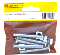 M6 x 50 mm Zinc Plated Roofing Bolts Packet of 5