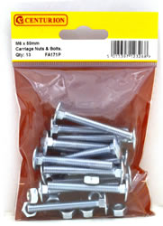 M6 x 50 mm Zinc Plated Small Carriage Bolts and Nuts Packet of 13