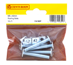 M6 x 40 mm Zinc Plated Roofing Bolts Packet of 5