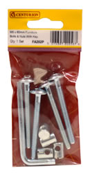 M6 x 60 mm Zinc Plated Furniture Bolts and Nuts With Hex Key Packet of 5