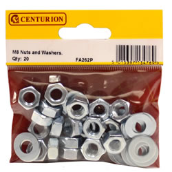 M8 Zinc Plated Nuts and Washers Packet of 20
