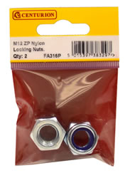 M12 Zinc Plated Nylon Locking Nuts Packet of 2