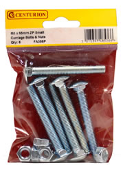 M8 X 65 mm Zinc Plated Small Carriage Bolts and Nuts Packet of 6