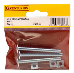 M6 x 60 mm Zinc Plated Roofing Bolts Packet of 3