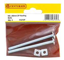 M6 x 80 mm Zinc Plated Roofing Bolts Packet of 2