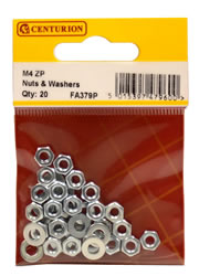 M4 Zinc Plated Nuts and Washers Packet of 20