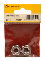 M10 Stainless Steel Hex Nuts Packet of 2