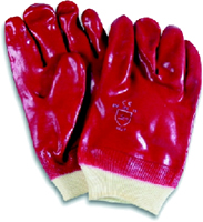 Red 1mm plastic PVC sign Knit Wrist Gloves large