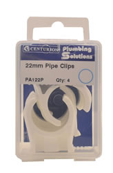 22 mm Plastic Snap Fix Pipe Clips Packet of 4
