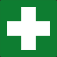 First aid symbol labels 50 x 50mm Roll of 250
