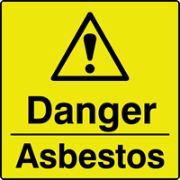 danger asbestos labels 50 x 50mm Roll of 250