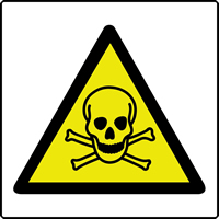 Toxic symbol labels 50 x 50mm Roll of 250