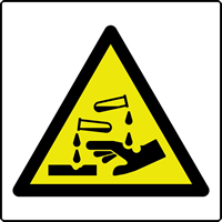 Corrosive symbol labels 50 x 50mm Roll of 250