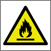 Flammable symbol labels 50 x 50mm Roll of 500