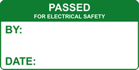 Passed for electrical safety labels 50 x 25mm Roll of 250