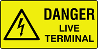 danger live terminal labels 50 x 25mm Roll of 250