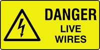 danger live wires labels 50 x 25mm Roll of 250