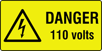 danger 110 volts labels 50 x 25mm Roll of 1000