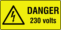 danger 230 volts labels 50 x 25mm Roll of 1000