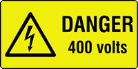 danger 400 volts labels 50 x 25mm Roll of 1000