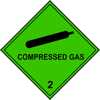 Compressed Gas 2 labels 100 x 100mm Roll of 250