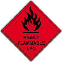 Highly Flammable LPG labels 100 x 100mm Roll of 250