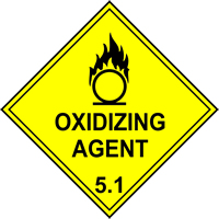 Oxidizing Agent 5.1 labels 100 x 100mm Roll of 250